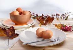 Placas con los huevos Fotos de archivo