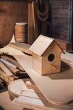 Placas da madeira compensada na indústria da mobília imagem de stock royalty free