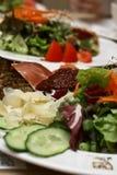 Placas da salada, dieta clara Fotos de Stock