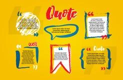 Placas das citações com bolha do texto com vírgulas Grupo do vetor de templat ilustração royalty free