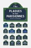Placas de calle de París Imagen de archivo