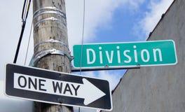 Placas de calle de una división de la manera Imagen de archivo libre de regalías