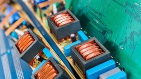 Placas de circuito para mainboards do PC e bobinas de acionadores de partida da lâmpada fluorescente fotos de stock