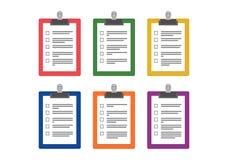 Placas de clipe de papel coloridas com questionário ilustração stock