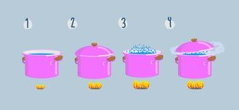 Placas de cocinar determinadas Agua hirvienda para los diversos platos Foto de archivo libre de regalías