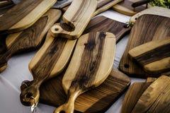 Placas de corte de madeira feitos a mão Foto de Stock Royalty Free