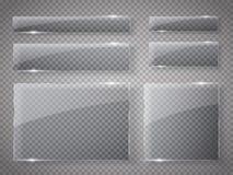 Placas de cristal fijadas Banderas de cristal del vector en fondo transparente Fotos de archivo