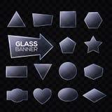 Placas de cristal fijadas Triángulo, rectángulo cuadrado redondo Fotos de archivo