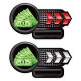 Placas de identificación rojas y blancas de la flecha con las cuentas de dólar Foto de archivo libre de regalías