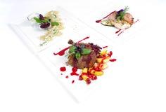Placas de la comida de cena fina Imagen de archivo libre de regalías