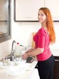 Placas de lavagem da dona de casa nova positiva com a esponja na cozinha Fotografia de Stock Royalty Free