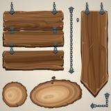 Placas de madeira com corrente foto de stock