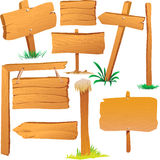 Placas de madeira do sinal ilustração stock
