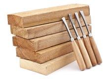 Placas de madeira e formões Fotografia de Stock Royalty Free
