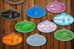 Placas de metal coloridas de la competencia de la agricultura Imagen de archivo libre de regalías