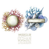 Placas de metal de la acuarela con diseño del océano ilustración del vector