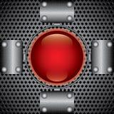 Placas de metal e tecla vermelha Imagens de Stock Royalty Free