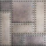 Placas de metal oxidadas com rebites fundo ou textura sem emenda Foto de Stock Royalty Free