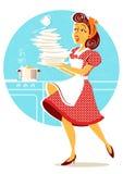 Placas de queda e pratos da mulher atrativa desajeitada em sua cozinha Foto de Stock Royalty Free
