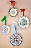 Placas decoradas por feito à mão em Itália imagem de stock