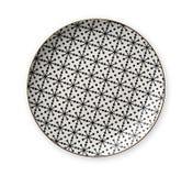 Placas decorativas de la cerámica, placa con el modelo geométrico y borde del oro, visión desde arriba aislado en el fondo blanco fotos de archivo