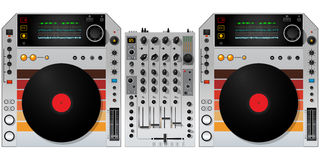 Placas giratorias y mezclador de DJ Foto de archivo