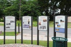Placas informativas históricas en el fuerte Curtis, Helena Arkansas Fotos de archivo libres de regalías