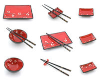 Placas orientais e chopsticks ajustados Fotografia de Stock Royalty Free