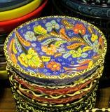 Placas paintinted com flores Imagem de Stock Royalty Free