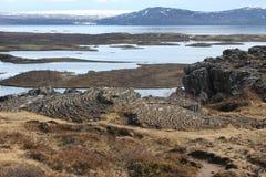 Placas tetônicas na reserva natural em Islândia Fotos de Stock