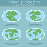 Placas tetônicas na terra do planeta continentes e grupo modernos do infographics de estilo liso dos ícones Imagem de Stock