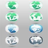 Placas tetônicas na terra do planeta continentes e grupo modernos do infographics de estilo liso dos ícones Fotografia de Stock Royalty Free