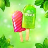 Placat лета мороженого Стоковые Изображения RF
