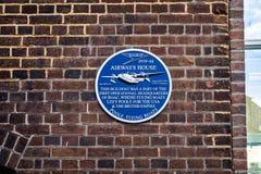 Placca che commemora il HQ operativo degli idrovolanti a scafo del ` s Poole di BOAC in Poole, Dorset, Regno Unito immagine stock