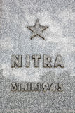 Placca commemorativa della città di Nitra di esenzione, monumento commemorativo Slavi Fotografia Stock Libera da Diritti