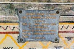 Placca commemorativa nel monastero Trojan, Bulgaria Fotografia Stock