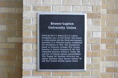 Placca del sindacato dell'università di Brown-Lupton Immagini Stock
