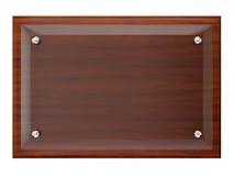 Placca di legno con la lastra di vetro. illustrazione vettoriale