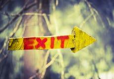 Placca di legno gialla sotto forma di freccia con l'uscita di parola in foresta rampicante o nel parco dell'alto cavo sul fondo s fotografie stock