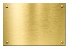 Placca di metallo dell'ottone o dell'oro con i ribattini isolati Fotografia Stock Libera da Diritti
