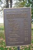 Placca di Smith Family Cemetery Immagini Stock