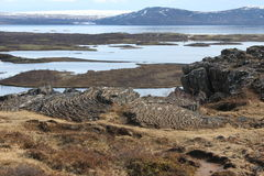 Placche tettoniche nella riserva naturale in Islanda Fotografie Stock