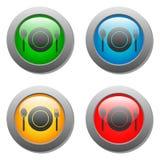 Placchi l'icona della forchetta e del cucchiaio sul bottone di vetro dell'insieme Immagini Stock Libere da Diritti