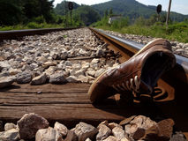 The place of the accident on the railroad Stock Photos