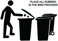 Place all rubbish in bins provided sign and dumping waste into t Royalty Free Stock Photography