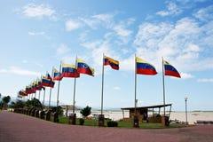 Place avec des drapeaux images libres de droits