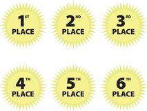 Place award seals. Illustration of six yellow sun-shaped award seals for 1st Place through 6th Place, isolated on a white background Stock Images