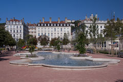 Place bellecour. Fountain in place bellecour, in the center of lyon Stock Image