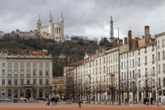 Place Bellecour and Fourviere Basilica Stock Photo