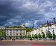 Place Bellecour, Lyon France. Place Bellecour, in Lyon France, the focal center point of the city, is said to be the largest clear square in Europe and the third Royalty Free Stock Image